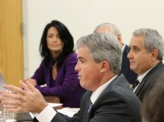 Newly-elected Suffolk County Executive Steve Bellone listens to thew concerns of Suffolk farmers and fisherman