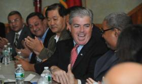 Photo credit: Newsday/Danielle Finkelstein | Steve Bellone leads a community forum on diversity issues in Brentwood. (Nov. 22, 2011)